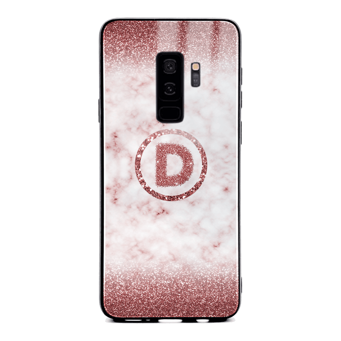 Custom initial Samsung Galaxy S9+ Glass phone case with rouge glitter and marble effect and round shape