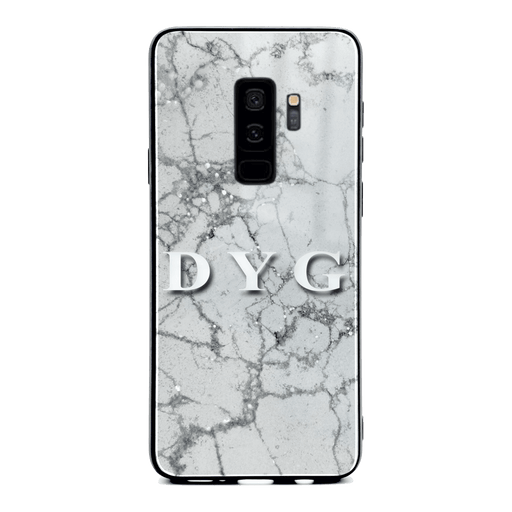 Samsung Galaxy S9+ glass phone case personalised with initials on sparkling silver pearl marble