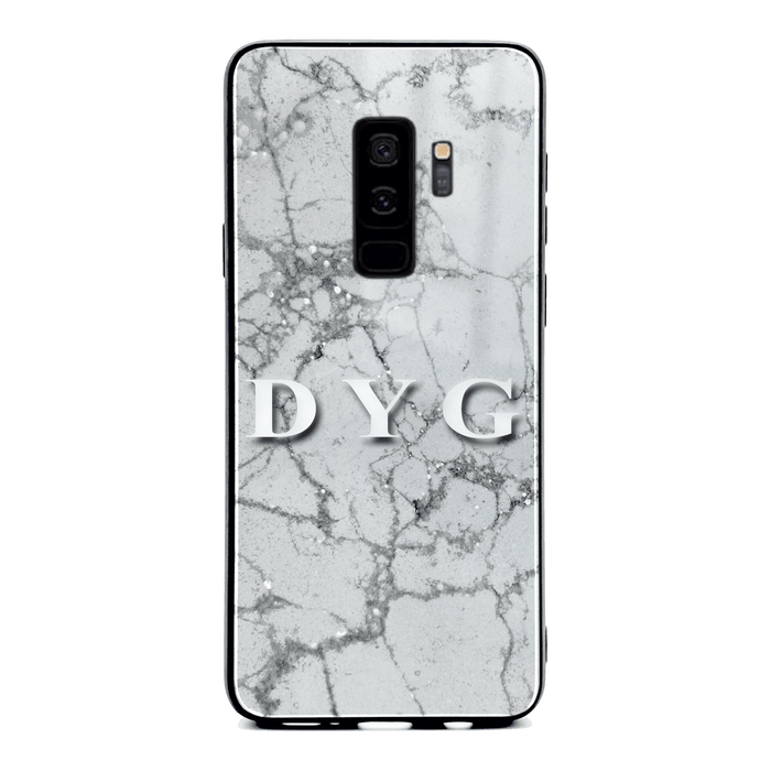 Pearl Marble With Initials - Samsung Galaxy S9 Plus Glass Phone Case design-your-gift.