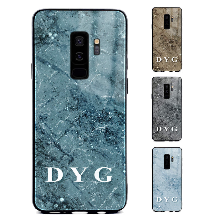 Samsung Galaxy S9+ glass phone case personalised with initials on colourful sparkle marble available in 4 colours