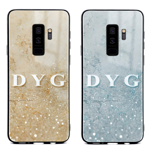 Samsung Galaxy S9+ glass phone case personalised with initials on a seamless sparkling marble available in 2 colours