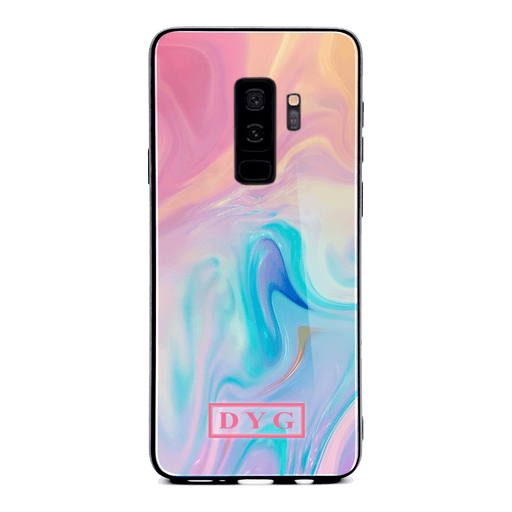 Samsung Galaxy S9+ glass phone case personalised with initials on unicorn liquid marble
