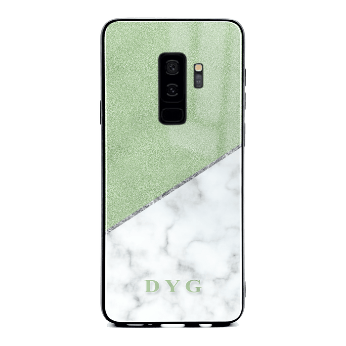 White Marble & Glitter with Initials - Galaxy S9 Plus Glass Phone Case