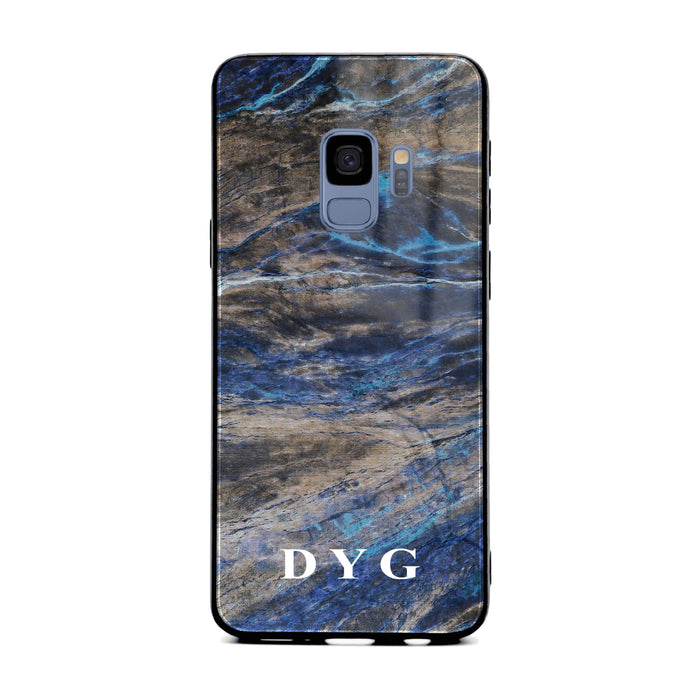 Custom initials Samsung Galaxy S9 Glass phone case Earthy blue marble effect