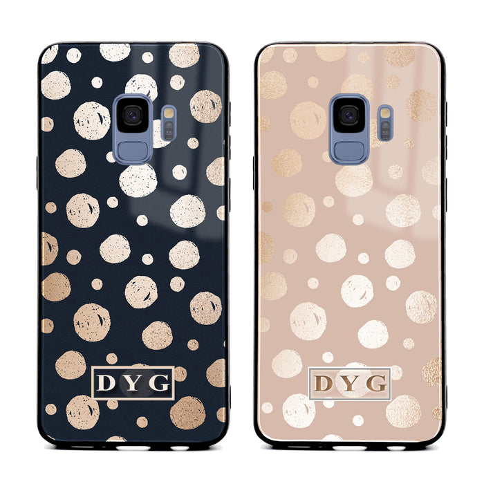 Glossy Dots with Initials - Samsung Galaxy S9 Glass Phone Case design-your-gift.