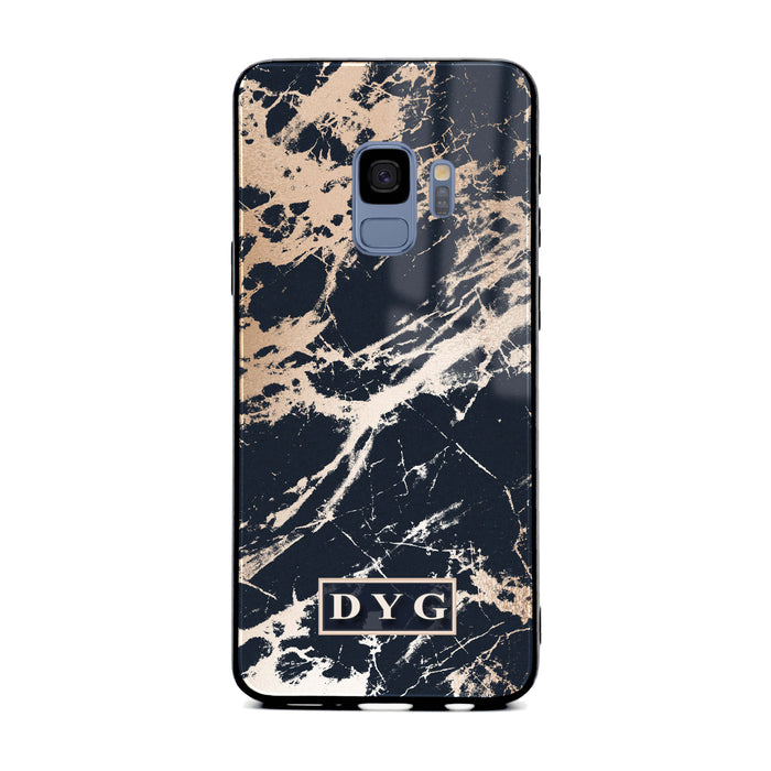 Luxury Gloss Marble with Initials - Galaxy S9  Glass Phone Case design-your-gift.