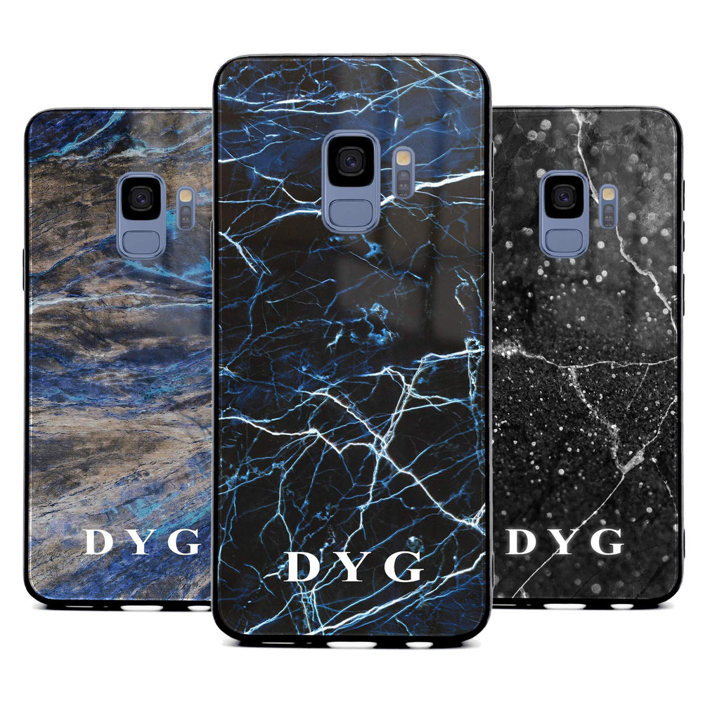 Custom initials Samsung Galaxy S9 Glass phone case printed with dark marble effects available in 3 colours