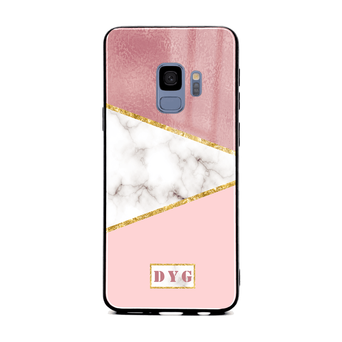 Samsung Galaxy S9 glass phone cases personalised with initials on white and rose marble pattern 2