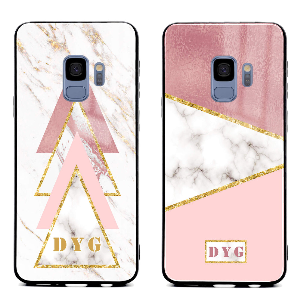 Samsung Galaxy S9 glass phone cases personalised with initials on white and rose marble patterns available in 2 design variants