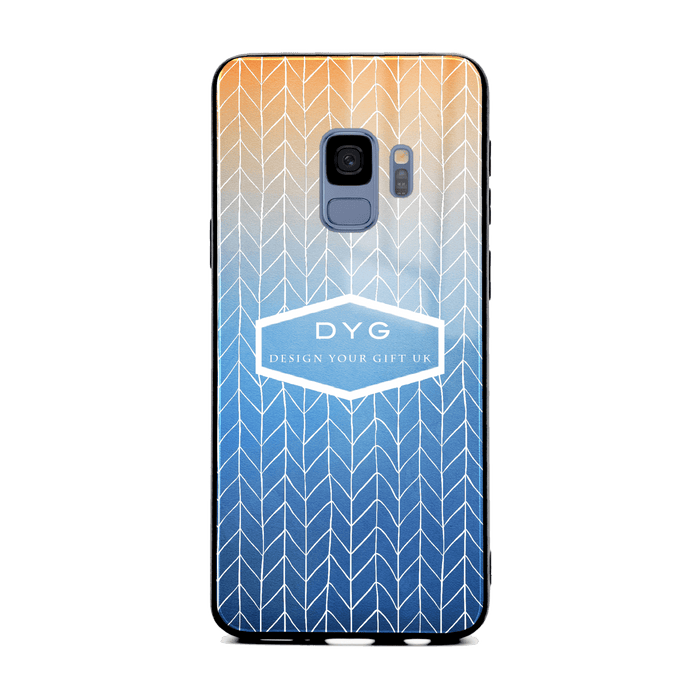 Hollow ZigZag with Initials and Text - Galaxy S9 Glass Phone Case design-your-gift.