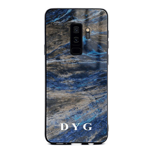 Custom initials Samsung Galaxy S9+ Glass phone case Earthy blue marble effect