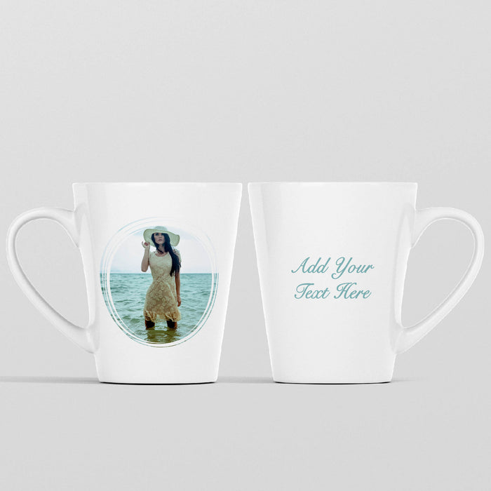12 oz white Photo latte Mug personalised with a photo in a seamless circle frame and Text