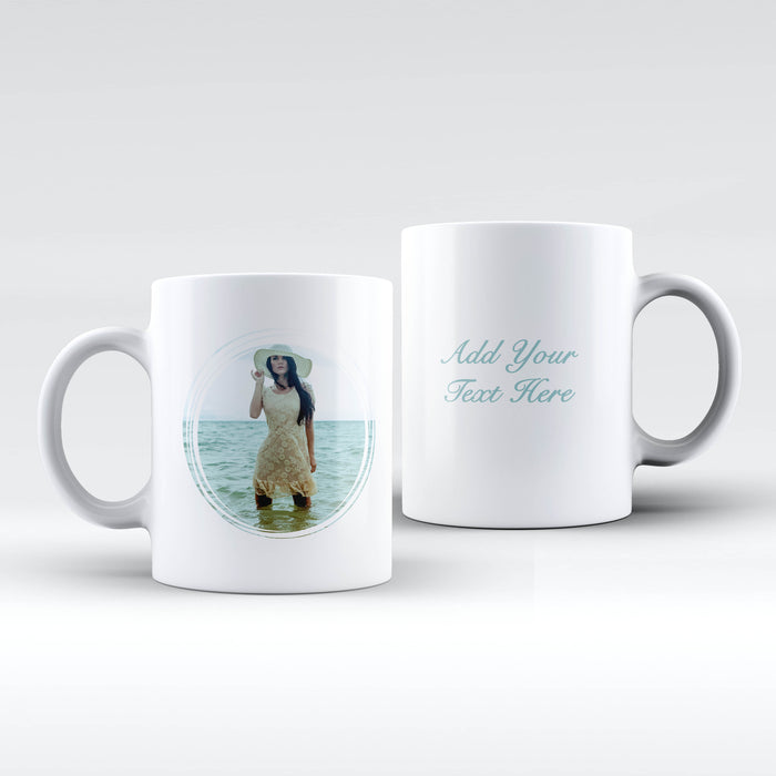 white Mug personalised with a photo in a seamless circle frame and Text