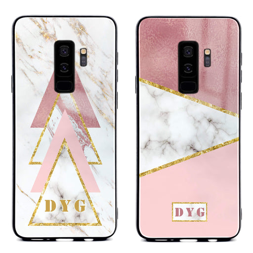 White & Rose Marble with Initials - Galaxy S9 Plus Glass Phone Case