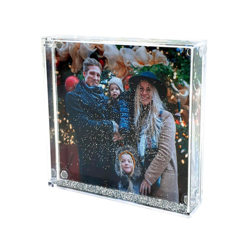 Square Christmas Photo Globe With Silver Glitter design-your-gift.