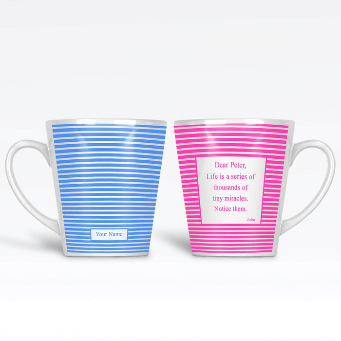 29ca63de38d 12oz Latte Mug with stripes pattern available in 3 colours personalised  with name on the front