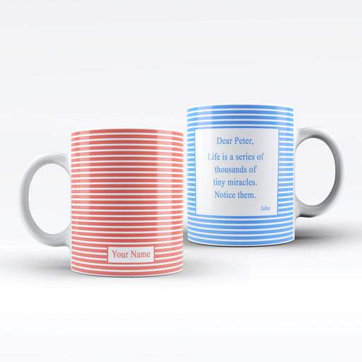 Name and Text Mug - Stripes Pattern Design | Personalised White Mug design-your-gift.