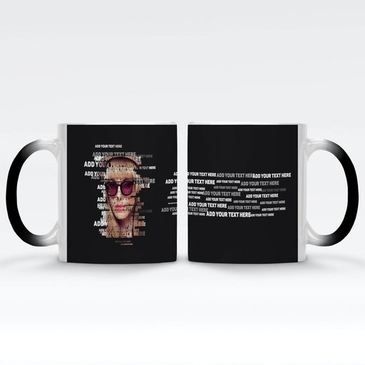 Personalised Black Magic Mug with photo and text transformed to typography design on black background