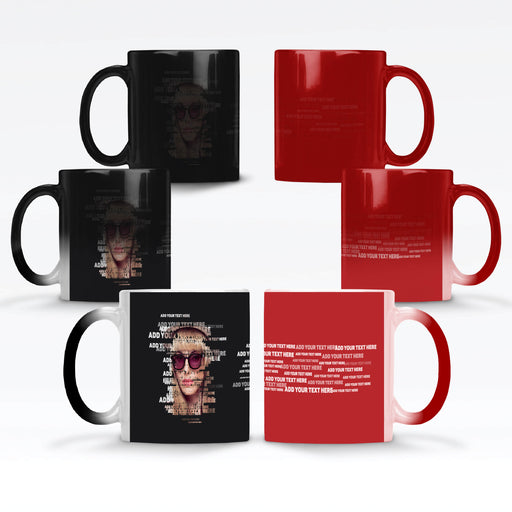 Personalised Black or red Magic Mug with photo and text transformed to typography design on black or red background