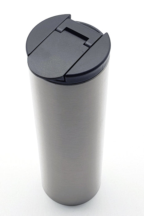 Thermos travel mug with black leak proof cap and stainless-steel double walled bottle