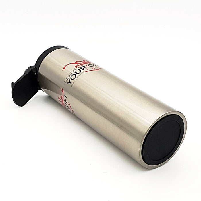 stainless-steel thermos travel mug with black rubber base and logo printed