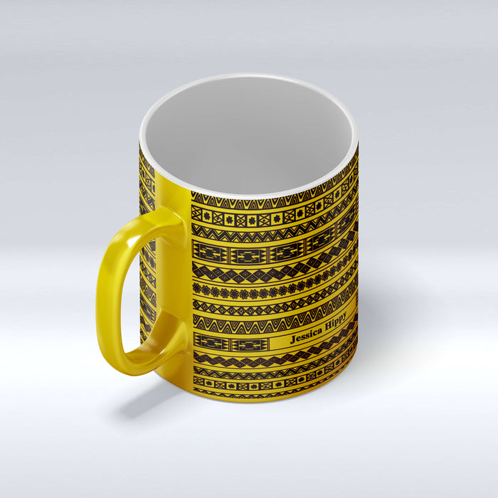 Personalised name gold mug with Tribal Theme design front mug view
