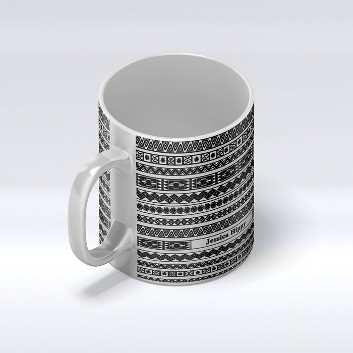 Personalised name silver mug with Tribal Theme design front mug view