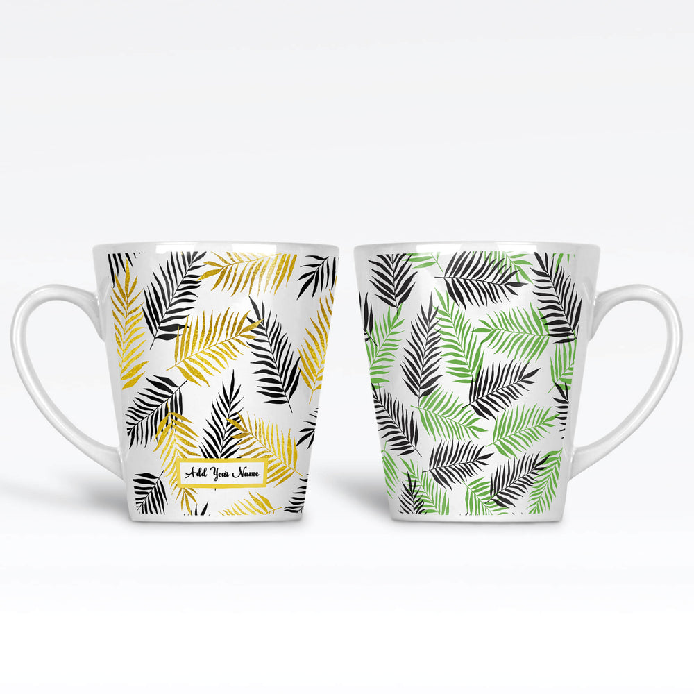 Personalised name 12oz latte Mug with tropical forest leaves with colours to choose from