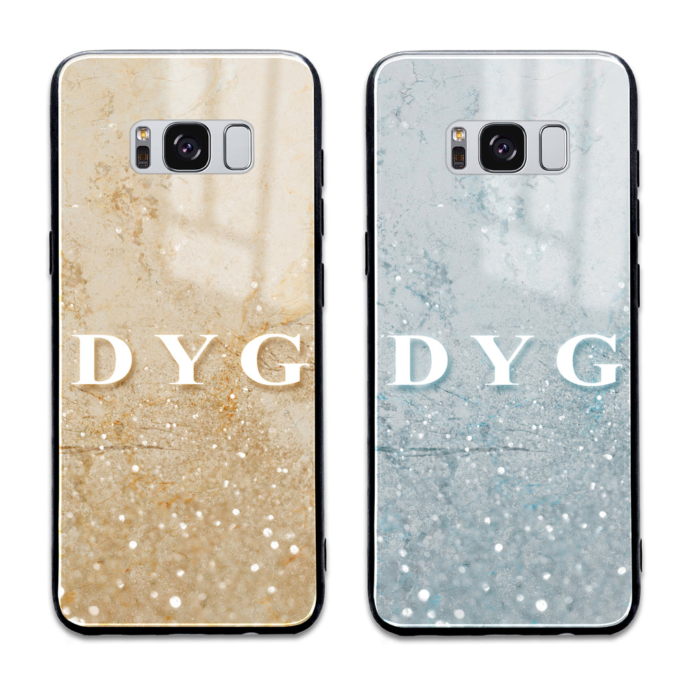 Sparkling Marble With Initials - Samsung Galaxy Glass Phone Case design-your-gift.