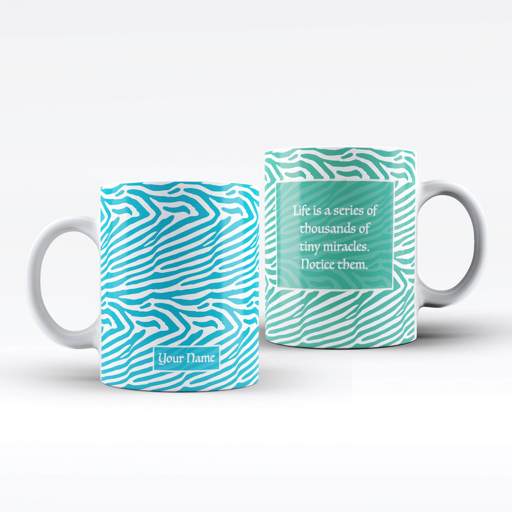 White Mug with Zebra design available in 4 colours personalised with name on the front and a text message on the back