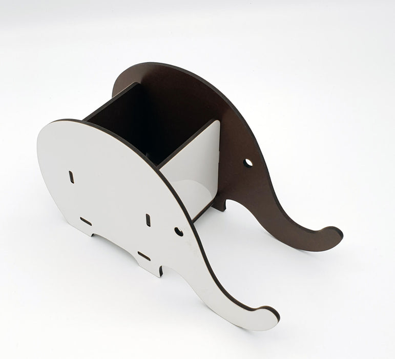 Blank elephant shape Personalised Desk Organiser side 1