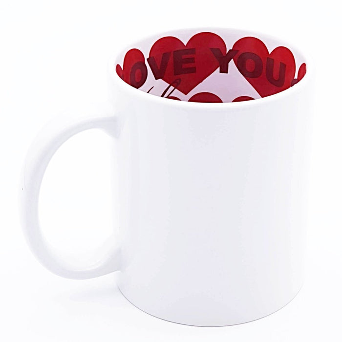Hidden Message white Mug internally printed with red hearts printed with your design on the outside