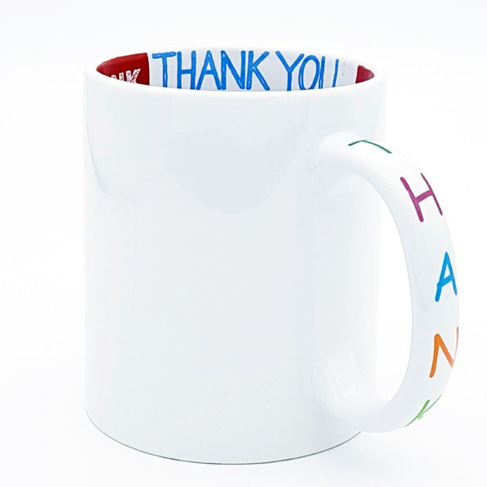 White Hidden thank you Message mug printed on the inside and the handle of the mug