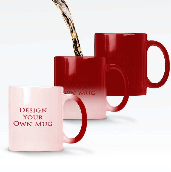Personalised magic mugs printed with your design on a Red mug changing colour when it gets hot to reveal the design