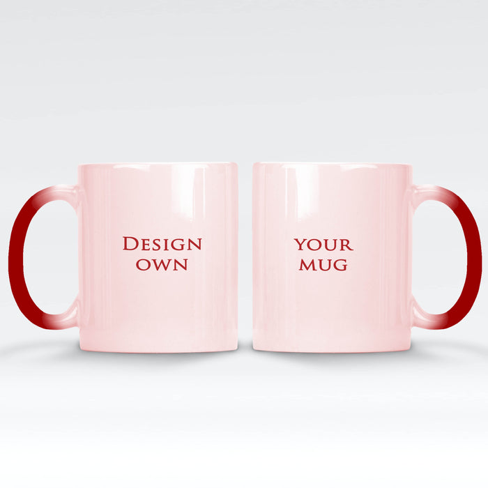 personalised hot red magic mug front and back