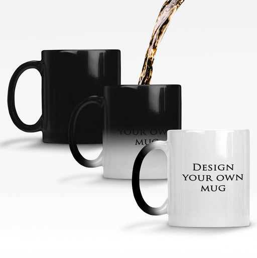 Personalised magic mugs printed with your design on a black mug changing colour when it gets hot to reveal the design