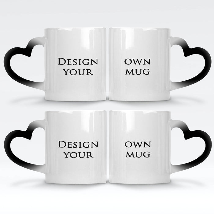 2 black magic mugs with heart handle set personalised with your own design