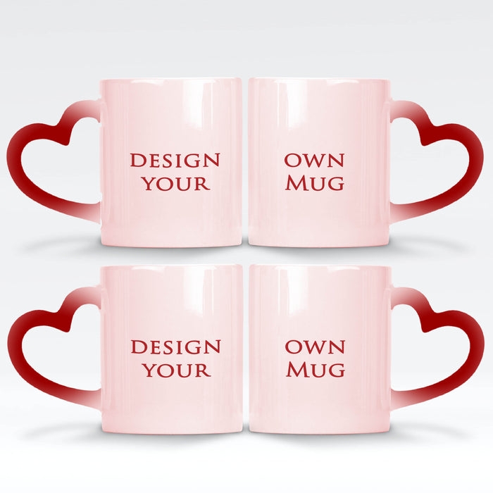 2 red magic mugs with heart handle set personalised with your own design