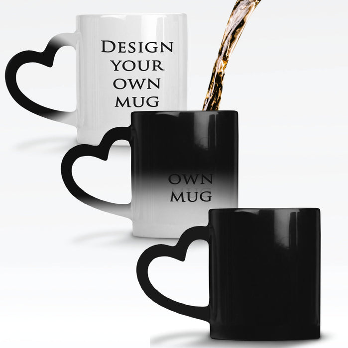 Black heat sensitive mug personalised with your design which reveals when the mug gets hot