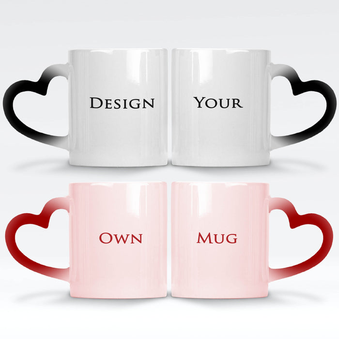 a red and a black magic mugs with heart handle set personalised with your own design