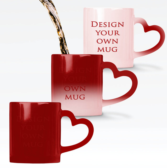 red heat sensitive mug personalised with your design which reveals when the mug gets hot