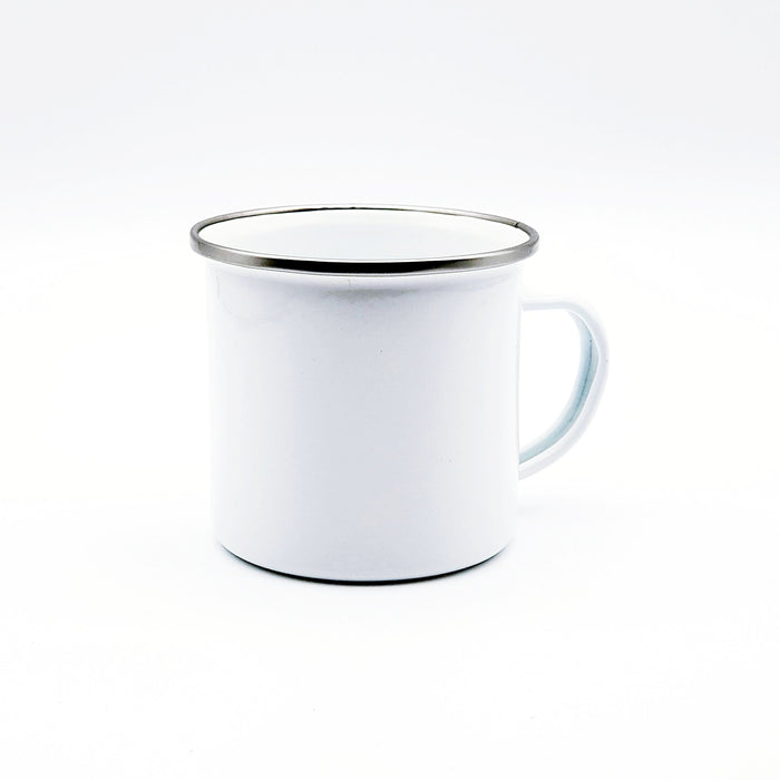 Personalised shiny white Enamel Mug with silver rim blank mug side and handle view