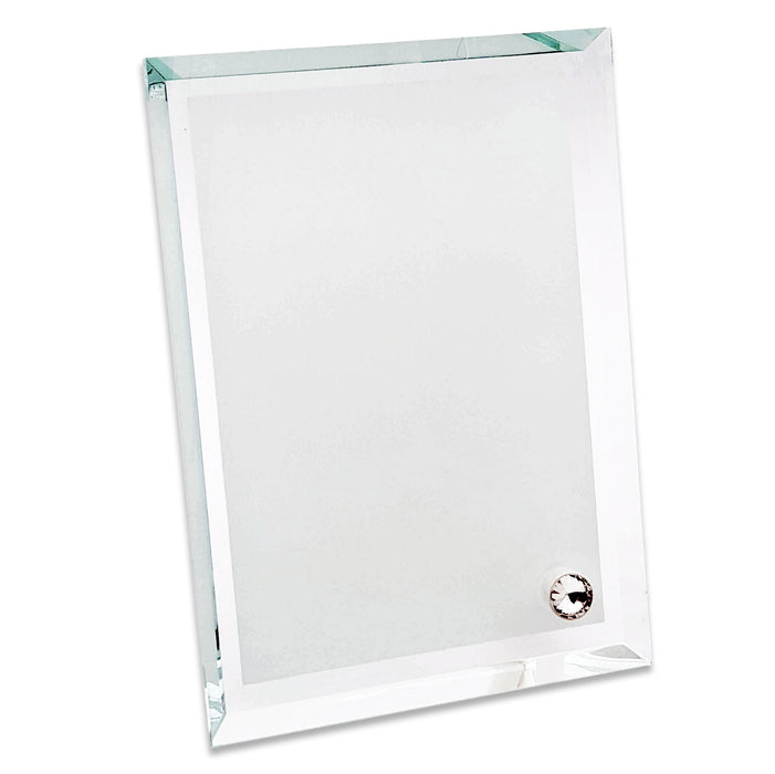 Blank portrait thick glass photo block with pointy edges and crystal stand 18x22.5 cm