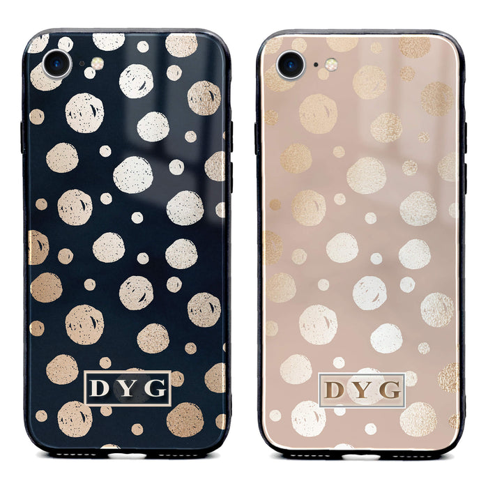 Glossy Dots with Initials - iPhone Glass Phone Case design-your-gift.