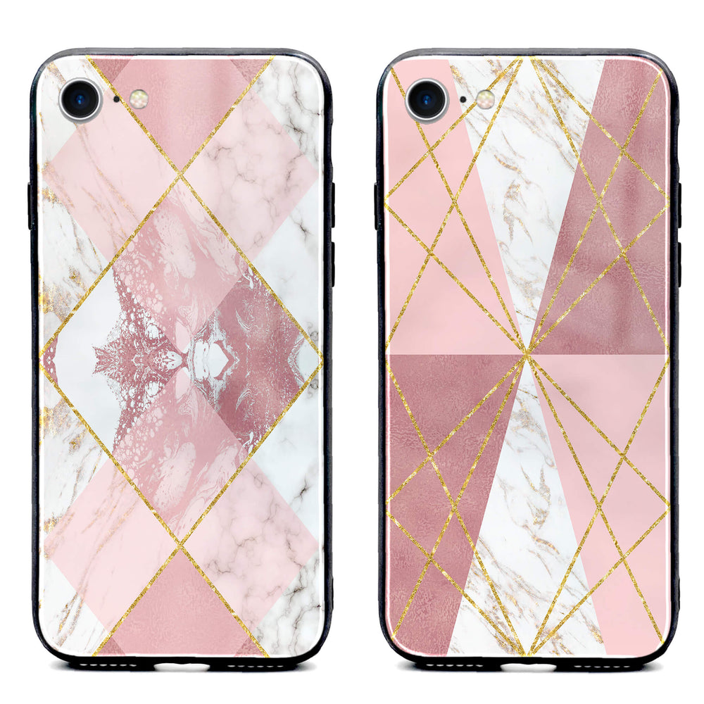Rose Marble & Geometric Patterns - iphone Glass Phone Case design-your-gift.