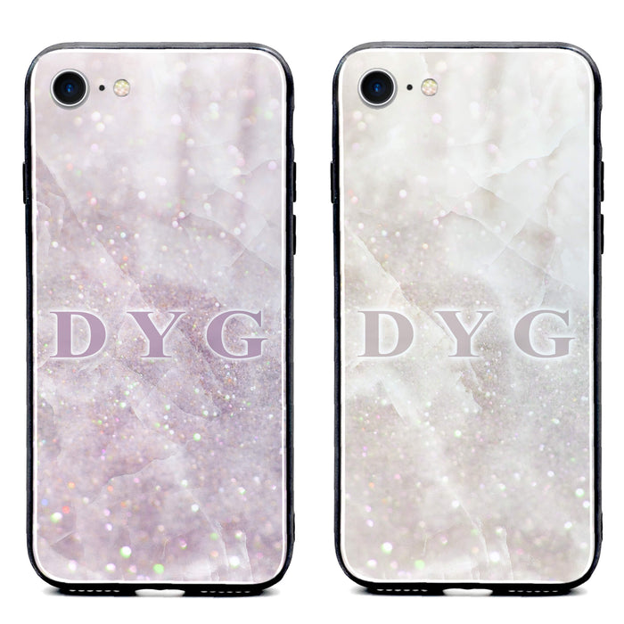 Luxury Sparkle Marble with Initials - iPhone Glass Phone Case design-your-gift.