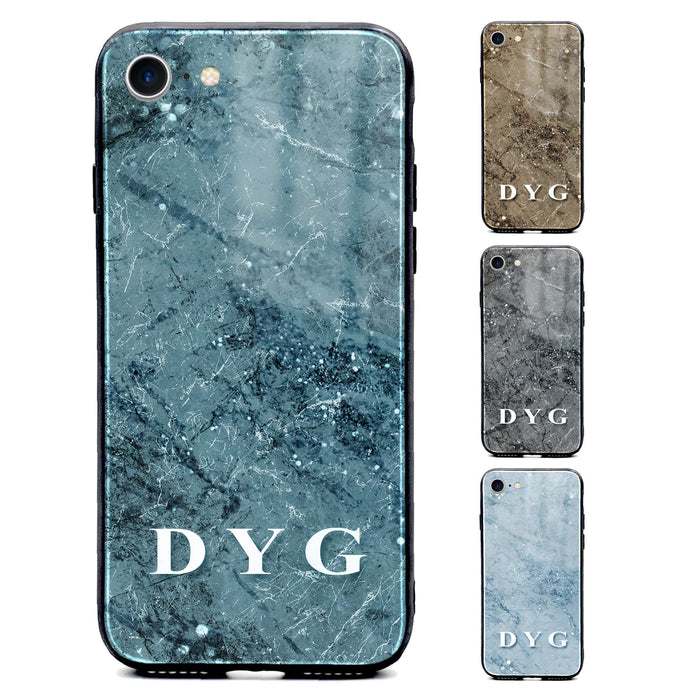 Sparkle Marble With Initials - iPhone Glass Phone Case design-your-gift.