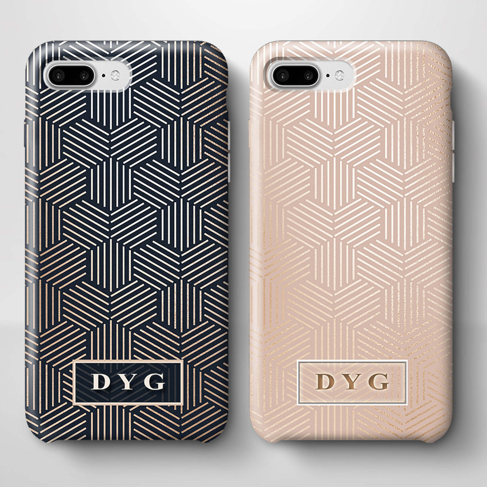 Glossy Geometric Pattern With Initials iPhone 8 Plus 3D Phone Case variants