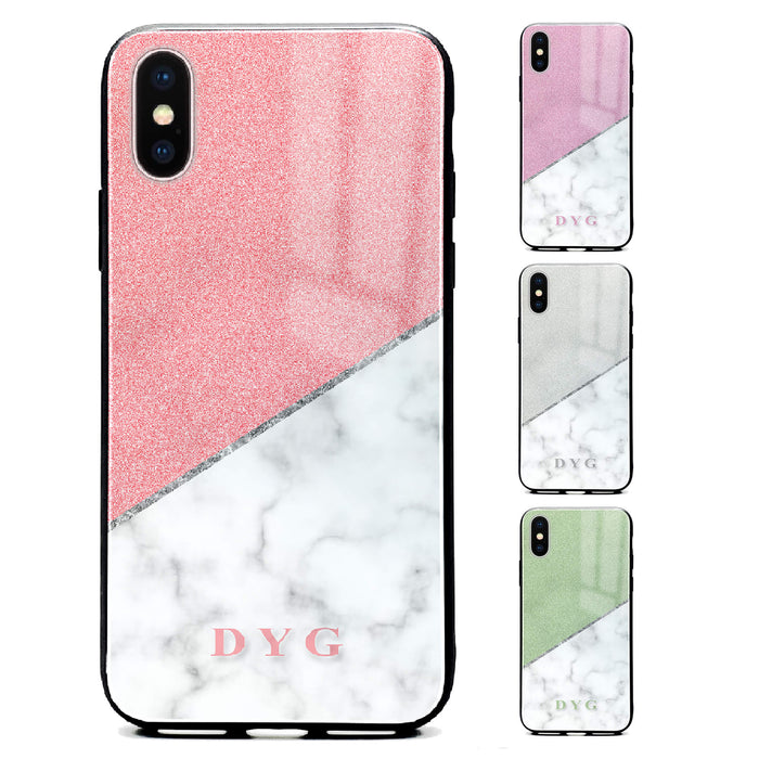 White Marble & Glitter with Initials - iPhone Glass Phone Case design-your-gift.