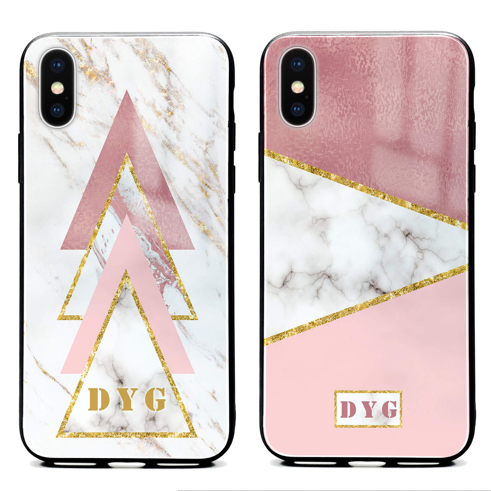 White & Rose Marble with Initials - iPhone Glass Phone Case design-your-gift.